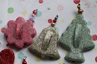 Glittery cookie cutter ornaments bell and tree