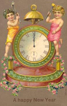Children-clock-vintage-postcard