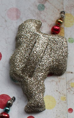 Glittery cookie cutter ornaments Santa