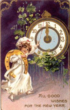 Child-horseshoe-clock-vintage-postcard