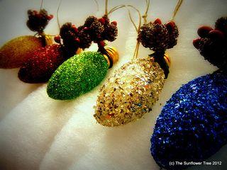 Glass glitter ornaments
