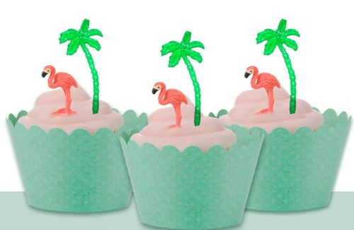Minature-flamingo-Luau-party-cupcake-toppers-1