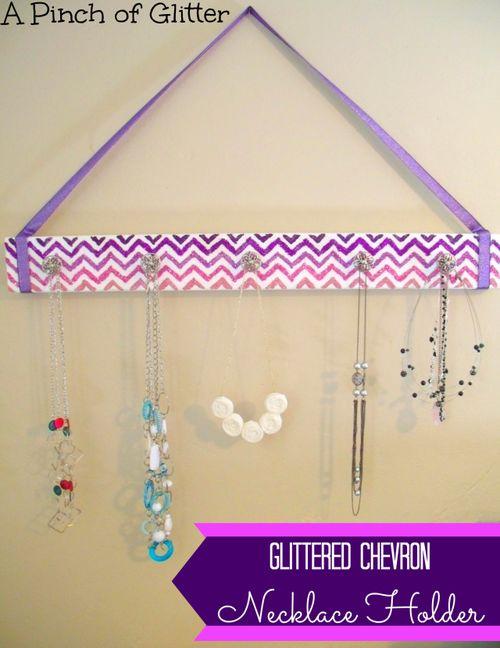 Glittered-chevron-necklace-holder