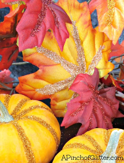 Glittered-pumpkins-and-leaves-3