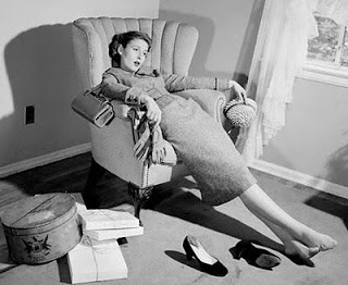 Vintage Exhausted Woman Photo
